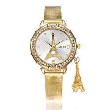 New Fashion Women Crystal Eiffel Tower Stainless Steel Analog Quartz W