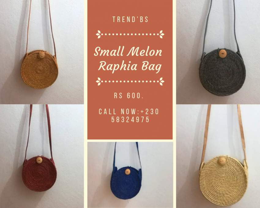 Small Melon Raphia Bag