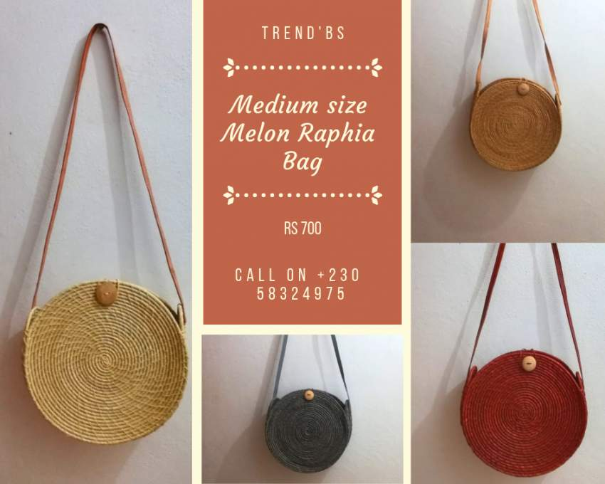 Medium Size Melon Raphia Bag