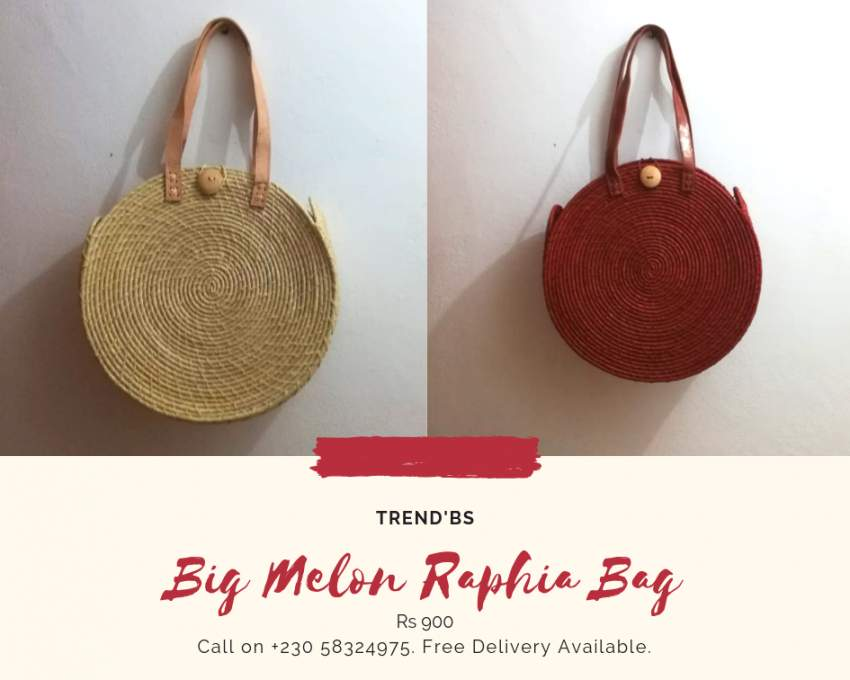 Large Melon Raphia Bag