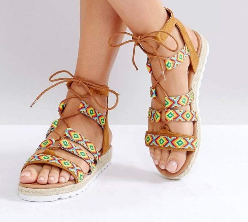 Glamourous Pattern Caged Espadrille Sandals