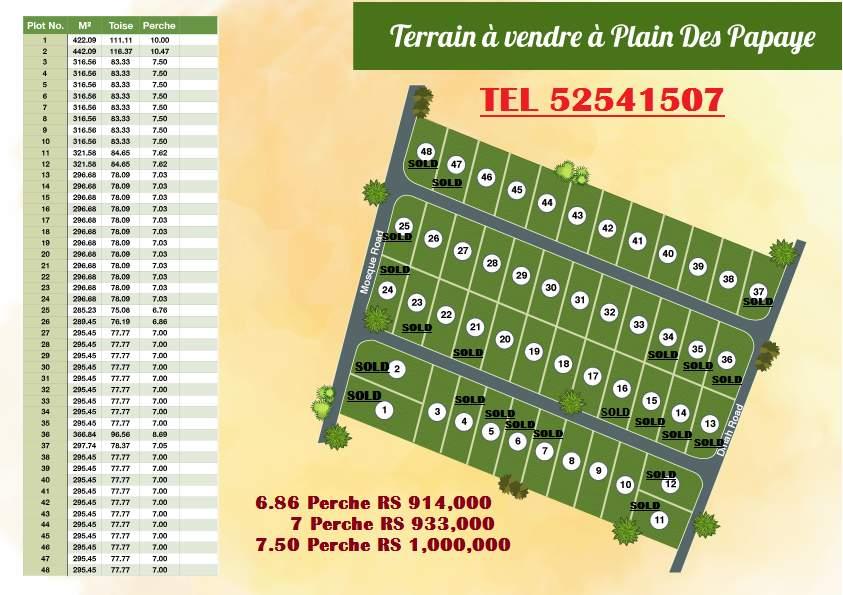 Terrain a vendre a plaine des papayes