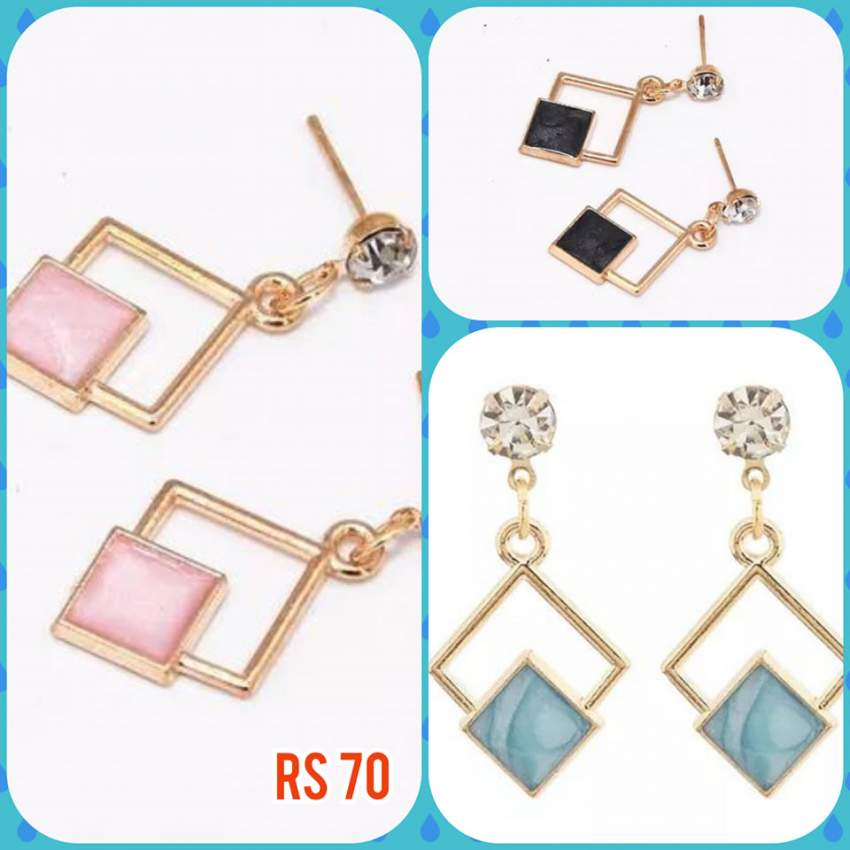 Blue, black and pink earrings