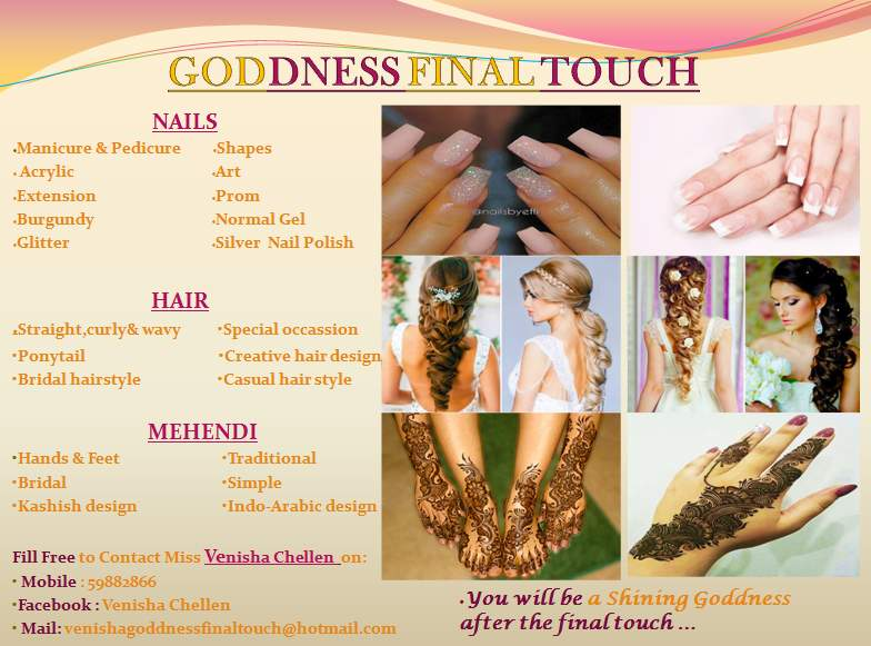 Nails , hairs designs and mehendi