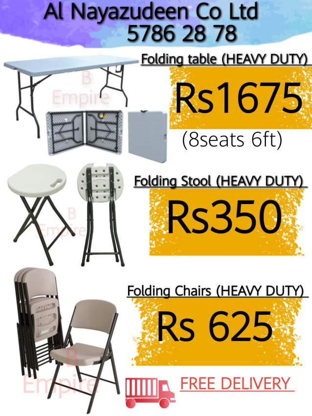 Folding table chairs stool chapito plastic wares