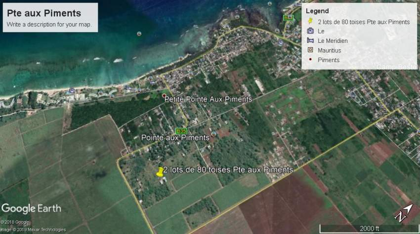 Residential land 160 toises at Pointe aux Piments