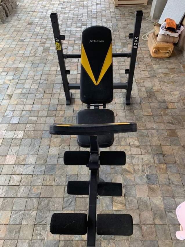 Bench + bar + weights