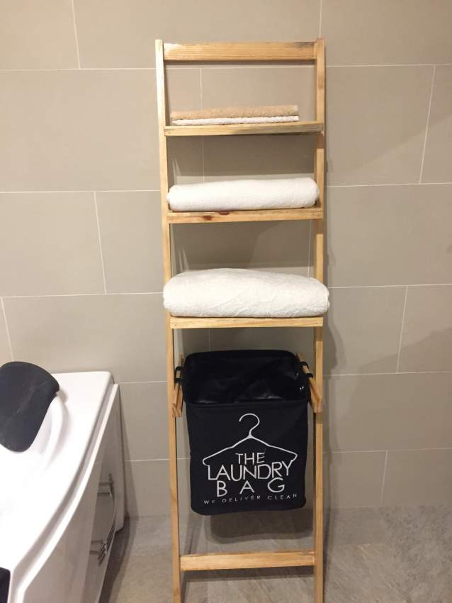 Wooden Towel Stand And Basket