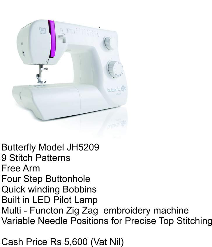 Sewing and Embroidery Machine - Butterfly JH5209 - Sewing Machines at AsterVender