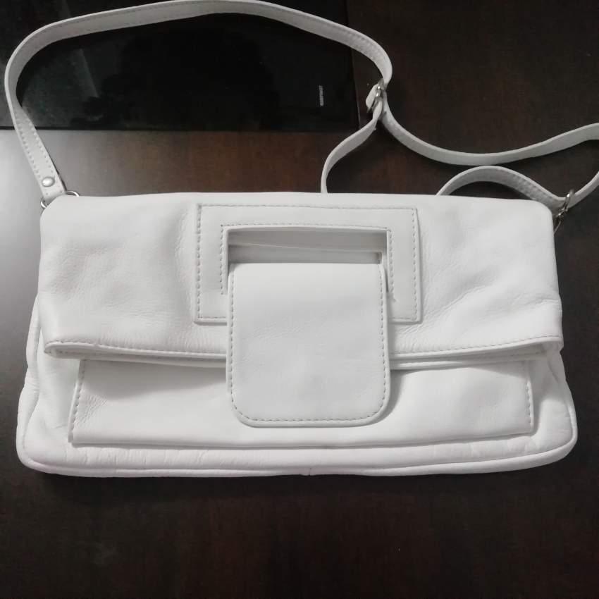 White genuine Italian leather bag