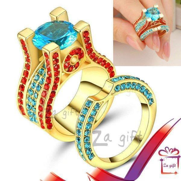 Female: Multi-Color Aquamarine Rings  - Rings at AsterVender